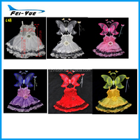 Glitter Butterfly fairy angle wings with tutu dress kids butterfly dance costumes latin dance dress