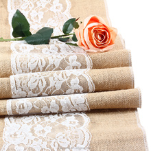 Burlap table runner wedding table runner with ivory lace rustic romantic table decor