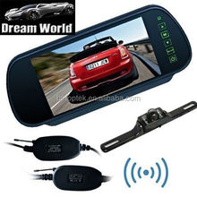 "7"" inch TFT LCD Rear View Mirror Monitor & 2.4GHz Wireless Reverse Car Rear View Backup Camera Kit"