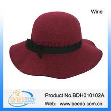 Top selling beauty ladies wide brim felt floppy hat