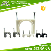 Free samples ground wire clip white black plastic wall cable clip 4mm 6mm 8mm round cable clip with certificate