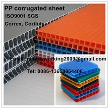 plástico de polipropileno pp chapa ondulada, correx hoja