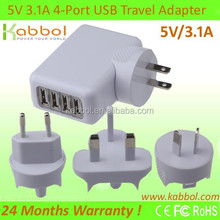 High Quality 3.1A 4-Port USB Wall/Travel Charger for iPhone 6, 6Plus, 5, 5S, Samsung Galaxy S6/S6 edge/Note4/Edge, Nexus