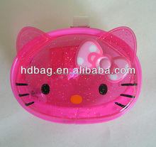hot sale promotional high-frequency hot pressing transparent pink pvc cat shape bags