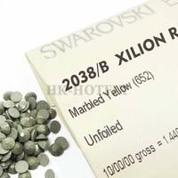 Wholesales 100% Genuine SWAROVSKI Elements ss16 Marbled Yellow (652) Iron On Bulk Sale Hotfix Rhinestones