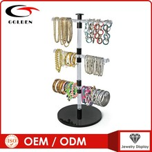 Red wood countertop rotating jewelry display stand