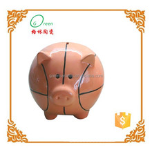 basketball shaped ceramic coin factory bank