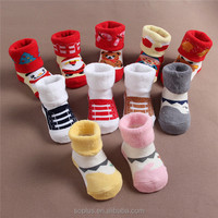SFL1510157 The New Christmas Decorations 0-2 Year Old Children Santa Paragraph Thick Warm Terry Cotton Baby Socks Christmas Sock
