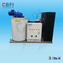 Flake ice machine with high refrigeration efficiency