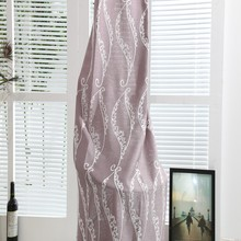 Elegant decoration linen material embroidered pattern kids curtain drapery for ready room drapes