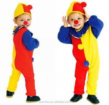 Niños niños traviesos payaso trajes de circo 110 - 140 cm bebé amarillo rojo azul Spliced Romper + Hat fiesta de Halloween