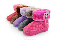 Litter Girls Winter snow boots,wholesale cheap kids warm snow boots for girls, Plaid PU TPR Outsole waterproof boots with bowtie