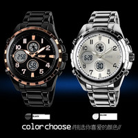 Personality military skmei 1021 luxury brand 50m swim diver sports japan quartz digital dual display zinc metal wrist watch men