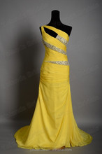 2015 Hot! Real Samples Sexy One Shoulder Beaded Design From Dubai Yellow Chiffon Arabic Evening Dress In Turkey