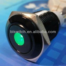 Steel Momentary Push Button Switch Black 16mm Threaded Dia SPST 2 Pin terminal