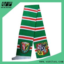 Europe Soccer Clubs Customized Designs Double Layer Knitting Jacquard Acrylic Soccer Scarf