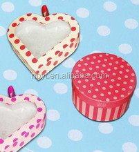 Factory price and perfect appearance hearted -shape gift box with pvc window