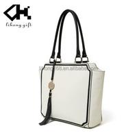 2015 China Genuine Leather Handbag White Color Fashion Women Handbag for ladies