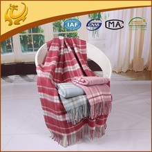 High Quality Plaid Style Travel Throw Wholesale Pure Wool Blanket For Sofa