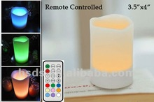 Battery operated Rainbow LED Wax Candle color changing light