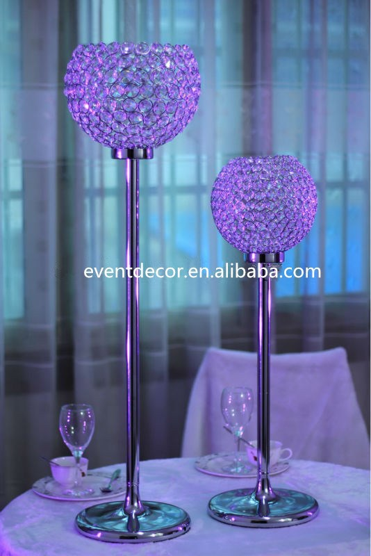 Decorative globe crystal candle holders for table