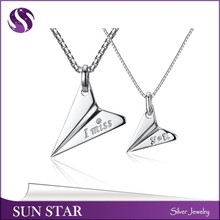 Fashion silver plane pendant,couple I miss you pendant wholesale