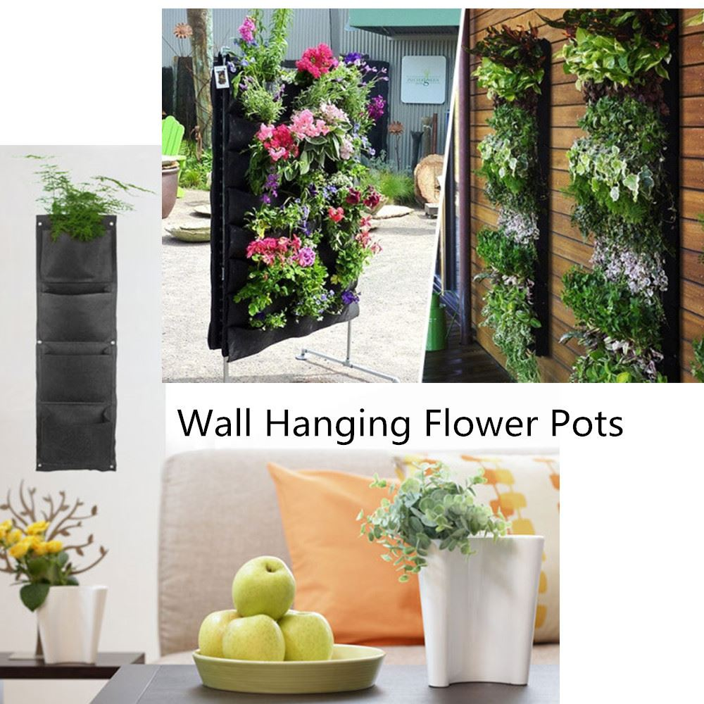 Decorative hanging vase flower pot wall mounted fabric for Decorative hanging pots