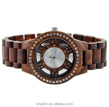 New arrived 2015 unisex full wooden accessories big transparent plastic displays wooden watch