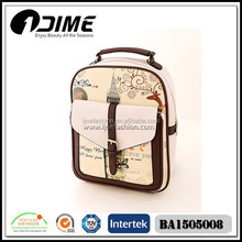 Fashion Brown Print Backpack For College Student With Butterfly And Tower Pattern
