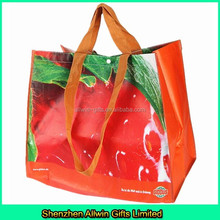 Fruit Printing Recycled RPET shopping bag/Laminated PP woven shopping bag
