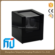 Custom 2 Grid Black Wooden Automatic Rotating Watch Winder Gift Box Wholesale