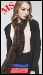 Knitted Fox Fur neck warmer scarf wrap muffler scarves cape Hat cap headgear