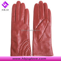 Genuine fashion ladies silk lined leather gloves