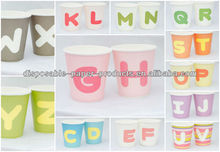 Serveware Letter Alphabet Solid color Paper Party Drinking Cup Glass A B C D E F G H L O P Q S T X Y W KIDS PARTY SUPPLIES
