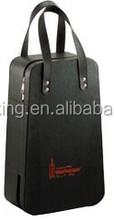 faux leather 2 bottles wine carrier wine bag