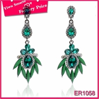 New York 2016 new arrival tribal black metal diamond dangler earrings with black stone