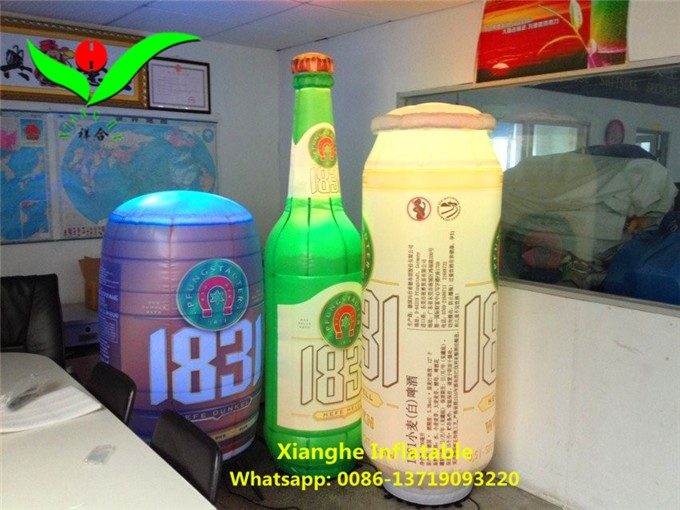 Giant custom inflatable bright LED light water wine beer can bottle balloons