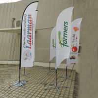 S4 double sided printing banner with pole iron spike base and carry bagJMW-150906