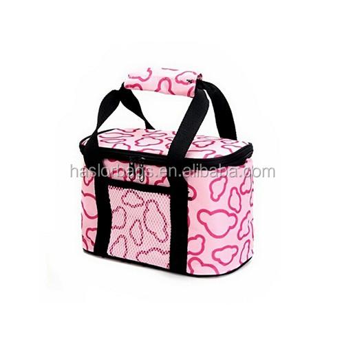 2016 new design lunch cooler bag wholesale pink cooler bag