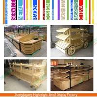 Wooden rack supermarket wooden Fruit Vegetable Display Stand