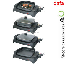 electric flat top and rib grill with pan and glass lid