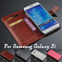 Cell Phone Accessory PU Leather Case For Samsung Galaxy J5 Back Cover, Flip Cover For Samsung Galaxy J5