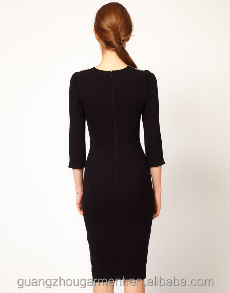 New Lace Dress Round Neckline 3 4 Sleeve Bodycon Dress New Design Pencil Party Dress Western