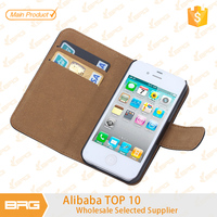 BRG Leather Hybrid Phone Case For iPhone 4 With Card Slot