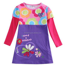 (H5792)Nova new model flower girl dress patterns children clothes wholesale 100%cotton printing garment for baby girls