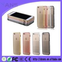 Chian Supplier Bling Rhinestone Aluminum Metal Phone Bumper Case Cover For Iphone 6