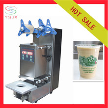Automatic plastic cup sealing machine for milktea