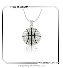 Fashion rhinestone basketball pendant necklace with chain