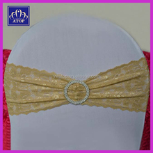 Fashion Champagne Lace Wedding Chair Sash Band With Round Buckle