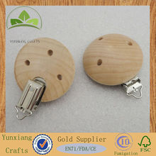 wooden round natural baby pacifier clips for decorations